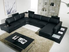 Modern Black Bonded Leather Sectional Sofa With End Table Light