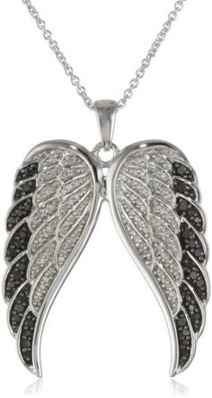 """Amazon.com: Sterling Silver Black and White Angel Wings Diamond Pendant Necklace (1/2 cttw, I-J Color, I2-I3 Clarity), 18"""": Jewelry"""