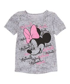 Another great find on #zulily! Gray Minnie Mouse Signature Tee - Girls by Minnie Mouse #zulilyfinds