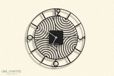 "Metal Wall clock ART DECO -  40 cm / 16"" - Laser cutting design - © Tolonensis Creation"
