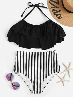 db5c7b1498 Shop Flounce Top With Random Striped High Waist Bikini Set online. SHEIN  offers Flounce Top With Random Striped High Waist Bikini Set & more to fit  your ...