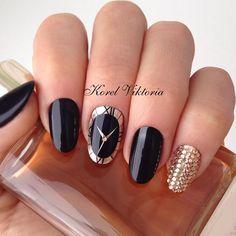 black, nail art, and new year image