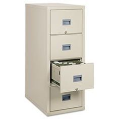 "Patriot Insulated 4-Drawer Fire File, 17-3/4w x 31-5/8d x 52-3/4h, Par by FireKing. $1836.24. Value-priced fire protection for all your important files. Insulated steel construction with a durable powder coated finish. UL one-hour fire and impact tested. Locking drawers operate on full-extension ball bearing slides. Insulation between drawers makes each drawer a separate, fireproof unit. Color: Parchment; Overall Width: 17 3/4""; Overall Depth: 31 5/8""."