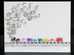 Thumbprint/Fingerprint Freight Train: great craft for the littles and great gift for a loved one too!