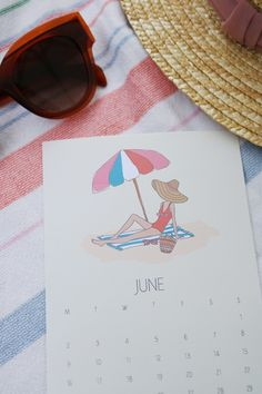 Free Calendar Printable for 2019 . New Year free calendar printable. Fashion Girl Series with June girl on the beach in bathing suit with colorful umbrella. Formatted for a postcard or framed print June Calendar Printable, Free Calendar, Copper Clothes Rail, Cabbage Flowers, Work Calendar, Colorful Umbrellas, Girls Series, Modern Artwork, Seasonal Flowers