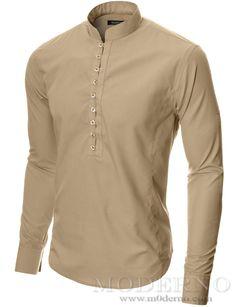 Mens button-down shirt beige (MOD1431LS) - MODERNO