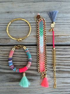 OOAK handmade beadloom rainbow bracelet with tassel by BonkIbiza