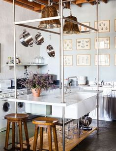 The stylish office kitchen at designer Michael S. Smith's Santa Monica headquarters