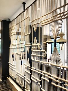 Hand Woven Ropes Wall by Leslie Ann Wigon Art & Design seen at New York LaGuardia Airport Marriott, Queens Macrame Design, Macrame Art, Macrame Projects, Commercial Interiors, Wall Art Decor, Decoration, Hand Weaving, Interior Decorating, Design Inspiration
