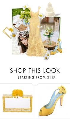 """""""Daisy Beautiful Day"""" by the-house-of-kasin ❤ liked on Polyvore featuring Elie Saab, Charlotte Olympia, MELLOW YELLOW, wedding, bridal, weddings and gownsgalore"""