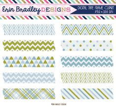 Olive and Blue Digital Washi Tape Clipart Graphics Personal & Commercial Use Clip Art
