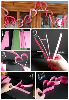 Heart Garland ~ Easy Valentine's Day Craft – A Thrifty Mom – Recipes, Crafts, DIY and Creative Valentines Day Ideas, Valentines Day Decorations, Valentine Day Crafts, Be My Valentine, Holiday Crafts, Fun Crafts, Crafts For Kids, Paper Crafts, Paper Heart Garland