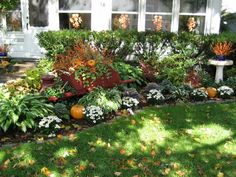 Beautiful fall yard...cute to add pumpkins in different areas of front yard & not just on front porch!