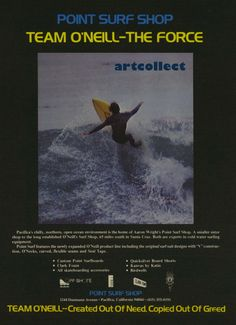 Vintage Surfing Ad (1977): Point Surf Shop. O'Neill.