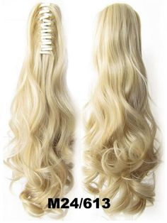 Beauty Wig World 20inch 50cm 100g Long Wave Curly 16 Colors Ponytail Hair Extensions Synthetic Hairpiece Clip Ponytails - no.24/613 Natural blonde/bleach blonde * Quickly view this special product, click the image : Christmas Gifts