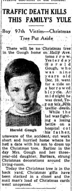 (12/10/1932) Canada (12/23/1941) sadly perished during a traffic accident while riding a bicycle 9 years old