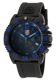Luminox Men's Colormark Chrono Black Silicone Black Dial Blue Accents - Watch 3083,    #Luminox,    #3083,    #WatchesDiverQuartz