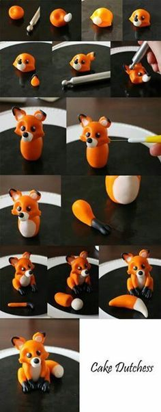 Making a fox from icing / flower paste / fimo / polymer clay step by step photo tutorial