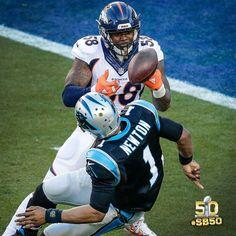 Vonn Miller stripping Cam Newton of the ball
