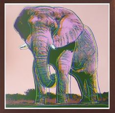 Print African Elephant by Andy Warhol. Andy Warhol prints for sale through Robin Rile Fine Art.