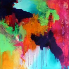Super flot farvestrålende stort akryl maleri. Abstrakt farverig kunst til væggen. Køb direkte fra kunstneren, stort udvalg.
