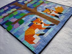 chezzetcook modern quilts: Fox Frenzy: A Finish