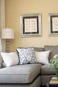 gray sofa, yellow walls --- @Shelly Figueroa Figueroa Holida - this is kind of pretty together!