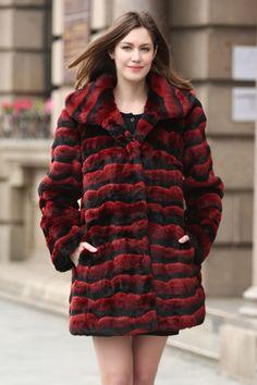 RED & BLACK WAVE STRIPE LUSH CHINCHILLA FAUX FUR COAT .