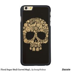 Floral Sugar Skull Carved Maple iPhone 6 Plus Case