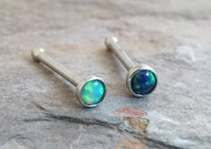 Light Green and Black Fire Opal Nose Bone Ring by MidnightsMojo