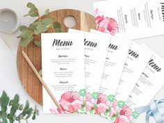 Your place to buy and sell all things handmade Wedding Menu, Floral Wedding, Wedding Ideas, Printable Menu, Floral Printables, Hibiscus Flowers, Watercolor Wedding, Modern Calligraphy, Wedding Stationery