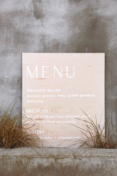 Modern unstained wood sign- a minimalist's dream! Perfect for your wedding or party. Wedding Menu Cards, Wedding Signage, Wedding Stationary, Diy Wedding, Dream Wedding, Wedding Goals, Event Signage, Branding, Wedding Calligraphy