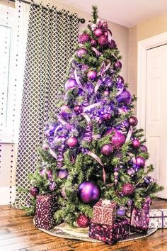 A non-traditional colour like purple — the biggest trend this season — marries well with silver and gold. Purple Christmas Tree Decorations, Beautiful Christmas Trees, Colorful Christmas Tree, Holiday Tree, Christmas Colors, Xmas Tree, Christmas Holidays, Christmas Crafts, Christmas Wonderland