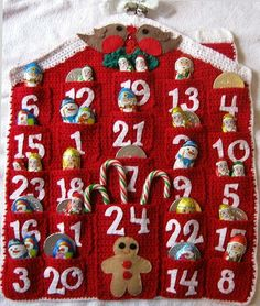 Ideas Crochet Christmas Countdown Calendar For 2019 Holiday Crochet, Christmas Knitting, Felt Christmas, Christmas Stockings, Christmas Holidays, Crochet Advent Calendar, Christmas Countdown Calendar, Crochet Crafts, Felt Crafts