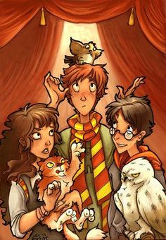 Hermione, Crookshanks, Ron, Pig, Harry and Hedwig