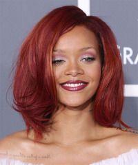 Rihanna Red Burgundy Hair on Medium Bob Hairstyles for Black Women Medium Bob Hairstyles, Asymmetrical Hairstyles, Hairstyles With Bangs, Cool Hairstyles, Bob Haircuts, Black Hairstyles, Female Hairstyles, Wedge Hairstyles, Brunette Hairstyles