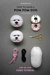 How do I make an adorable dog using pom poms? This tutorial shows you how to get it done (How to Make a Pom Pom Dog (Bichon Frise). Bichon Frise, Bichon Dog, Samoyed Dogs, Maltese Dogs, Dog Crafts, Yarn Crafts, Preschool Crafts, Fabric Crafts, Mason Jar Crafts