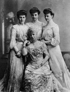 Crown Princess Thyra of Hanover, Duchess of Cumberland with her daughters, from left: Princess Marie Louise, Princess Alexandra, Princess Olga