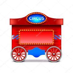 Carroça de circo isolada no branco vector — Ilustração de Stock #97722558