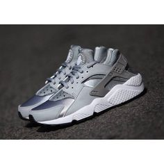 "Womens Nike Air Huarache ""Wolf Grey"" SOLD OUT BUT WE GOT EM! (€190) ❤ liked on Polyvore featuring shoes, silver metallic shoes, nike footwear, gray shoes, grey shoes and nike shoes"
