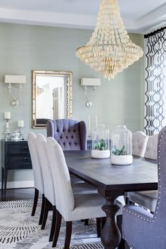 Dining room with grasscloth wallpaper. Dining room with grasscloth wallpaper and coastal lighting. dining-room-with-grasscloth-wallpaper J & J Design Group, LLC Dining Lighting, Coastal Lighting, Coastal Decor, Coastal Rugs, Coastal Bedding, Modern Coastal, Coastal Style, Modern Lighting, Dining Room Inspiration
