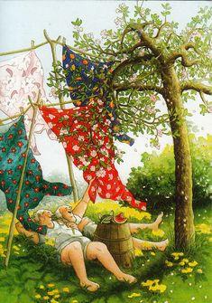 Art And Illustration, Dog Ball Launcher, Whimsical Art, Funny Art, Old Women, Watercolor Art, Illustrators, Photo Art, Fantasy Art