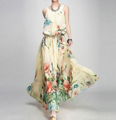 New summer chiffon dress lady sleeveless chiffon dress by handok, $96.00