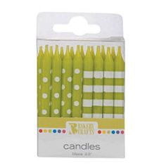 Oasis Supply Stripes and Dots Birthday Candles 25Inch Lime Green -- Check out the image by visiting the link. (This is an affiliate link)