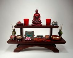 Peruvian two tier puja table - meditation shrine - Table top model