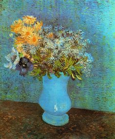 Vincent Van Gogh Vase With Lilacs, Daisies And Anemones A beautiful blue vase of flowers which Van Gogh painted in Paris.
