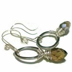 CLEARANCE SALE Smoky Quartz Hoop Earrings Sterling by MoodTherapy