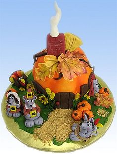 """Mayflower Mice"" Cake by Susan Carberry - Here's a new take on Thanksgiving! Susan Carberry dresses up mice like little pilgrims and puts them in a warm, pumpkin home with smoke coming out of the chimney and colorful turkeys and pumpkins hanging out with the pilgrims."