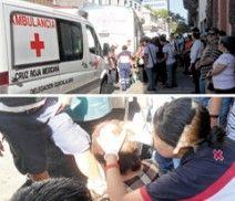 """Otra de """"vacunos"""". En el cruce de las calles Prisciliano Sánchez y Galeana, el camión de la ruta 214, con el número económico A-0046, lesionó a una mujer, elementos de la Cruz Roja acudieron a prestarle los primeros auxilios a la afectada. Fotos del reportero ciudadano Alberto José Santoro."""
