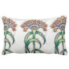 Art Deco Golden Floral Lumbar Pillow - purple floral style gifts flower flowers diy customize unique